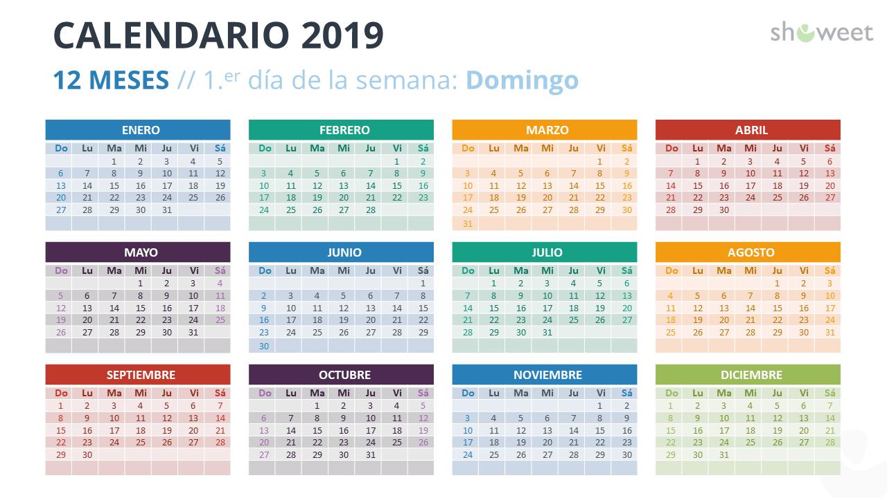 Calendario Con Semanas 2019 Para Imprimir.Calendario 2019 Para Powerpoint Espanol
