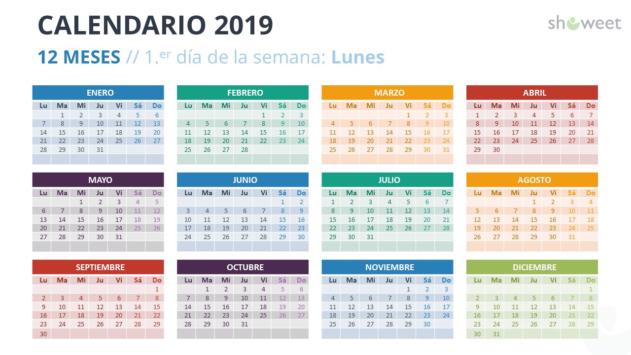 Calendario 2019 Para Powerpoint Español