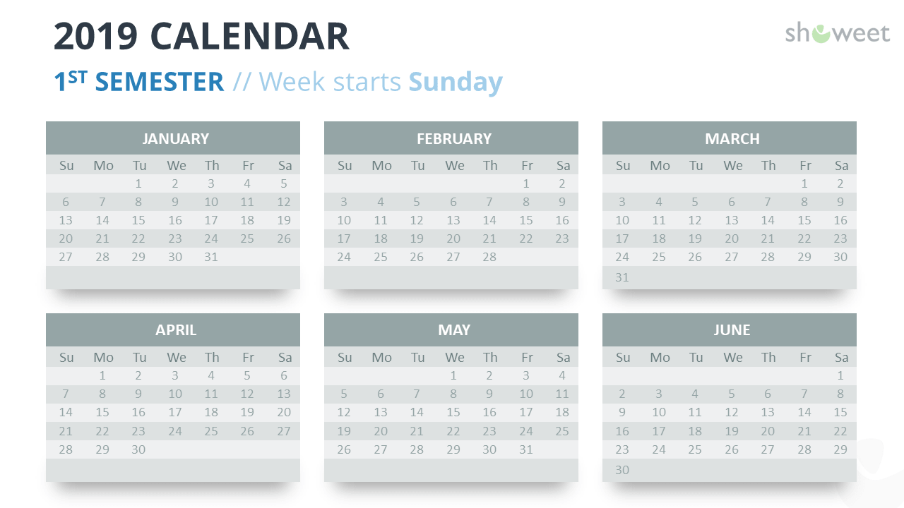 Calendar 2019 PowerPoint Template - 1st Semester - Week Starts Sunday