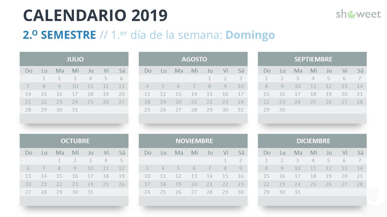 Calendario Colombia 2019 Para Imprimir.Calendario 2019 Para Powerpoint Espanol