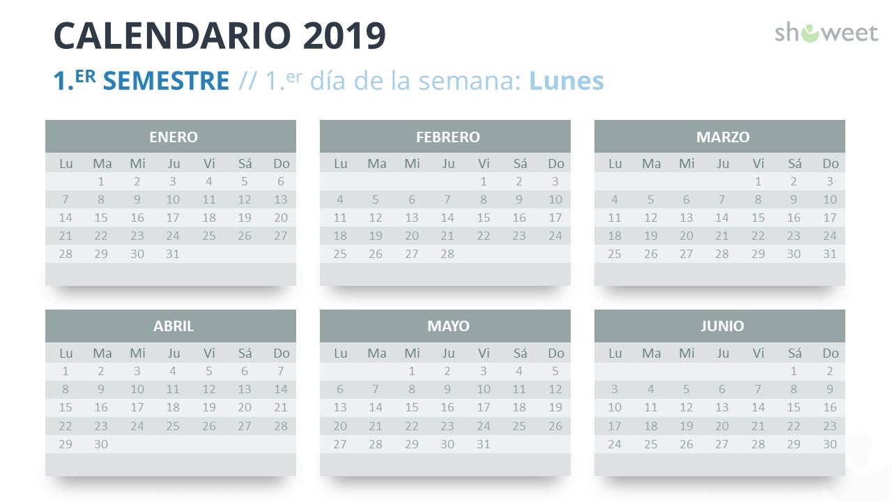 Calendario 2019 Y 2020 Con Festivos Para Colombia.Calendario 2019 Para Powerpoint Espanol