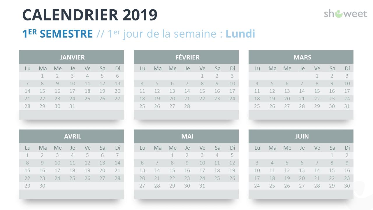Calendrier 2019 PowerPoint - 1er Semestre