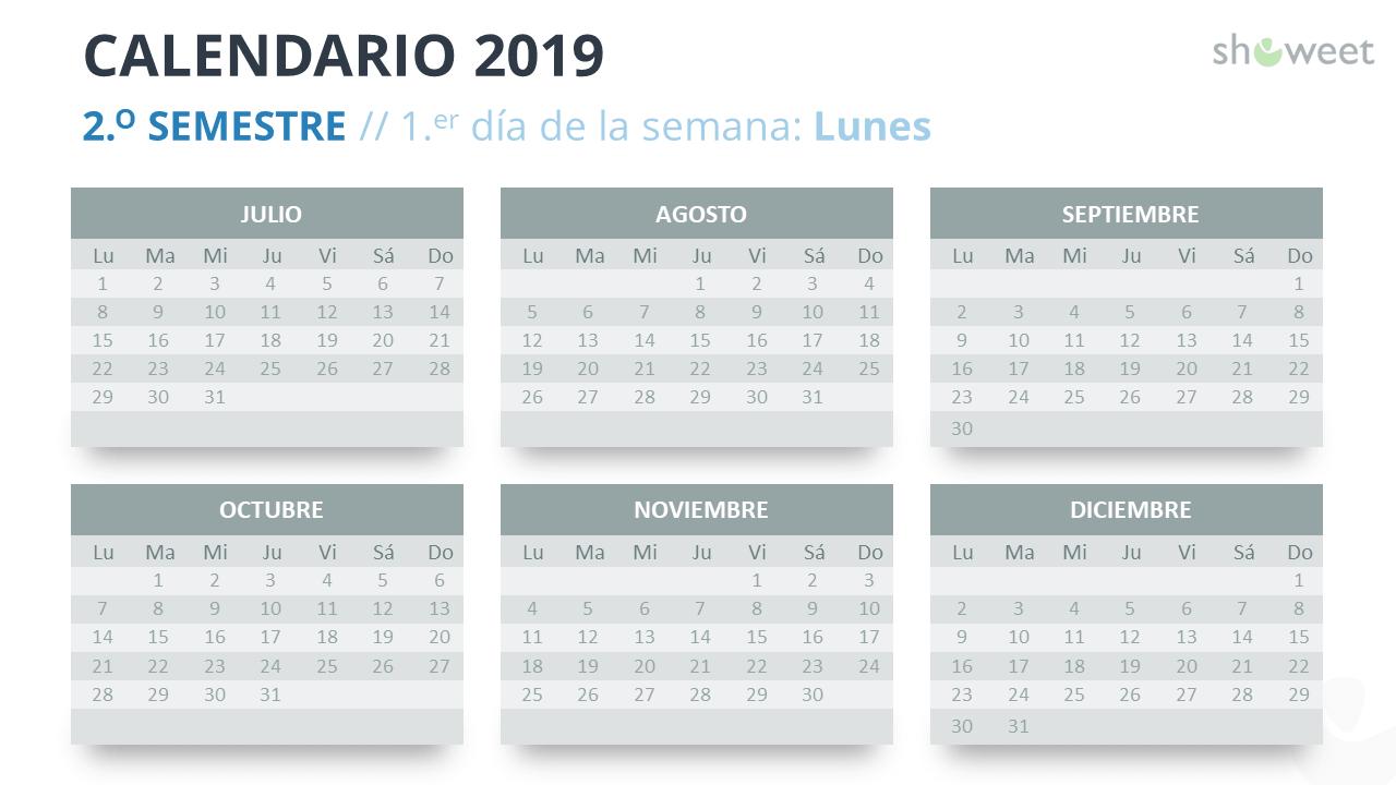 Calendario Con Semanas 2019 Chile.Calendario 2019 Para Powerpoint Espanol