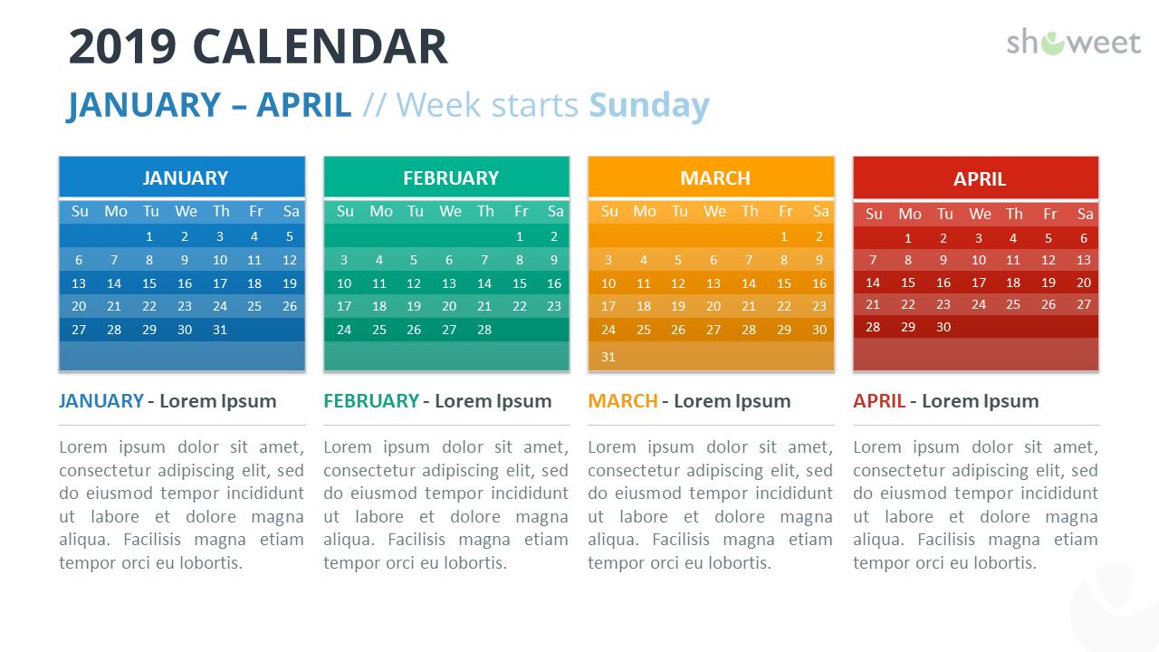 Calendar 2019 PowerPoint Template - 4 Months (January-April) - Week Starts Sunday
