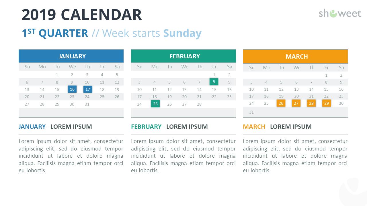 Calendar 2019 PowerPoint Template - 1st Trimester - Week Starts Sunday