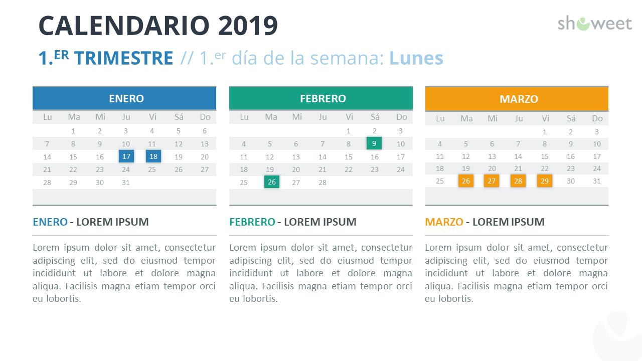 Calendario 2019 PowerPoint - 1.er Trimestre