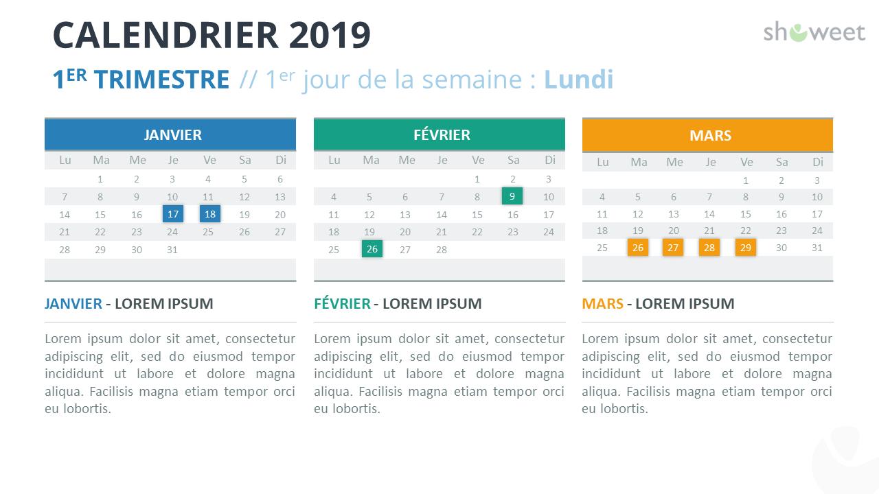 Calendrier 2019 PowerPoint - 1er Trimestre