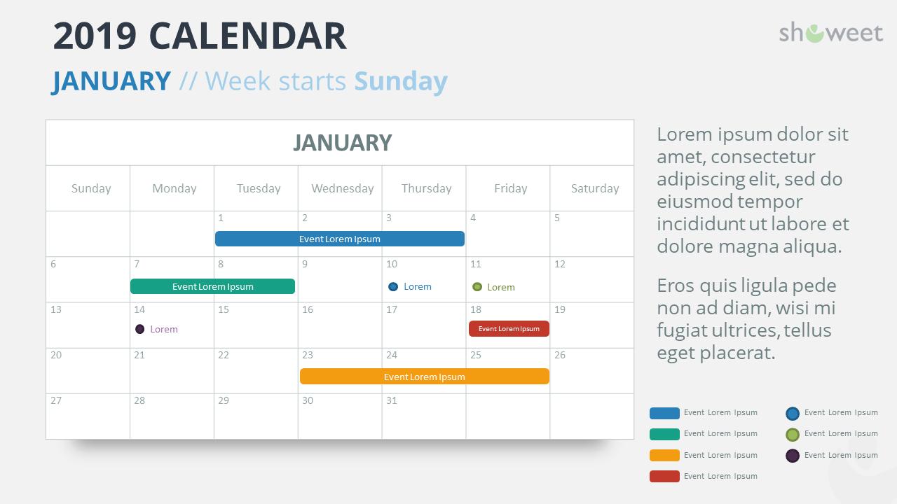 Calendar 2019 PowerPoint Template - JANUARY - Week Starts Sunday