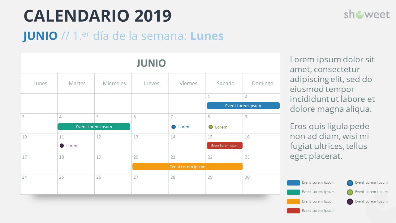 Junio Calendario 2019.Calendario 2019 Para Powerpoint Espanol