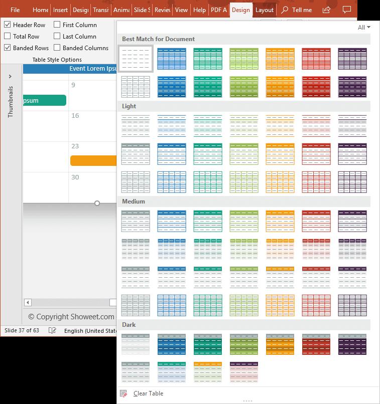 Calendar 2019 PowerPoint Table Design Customization