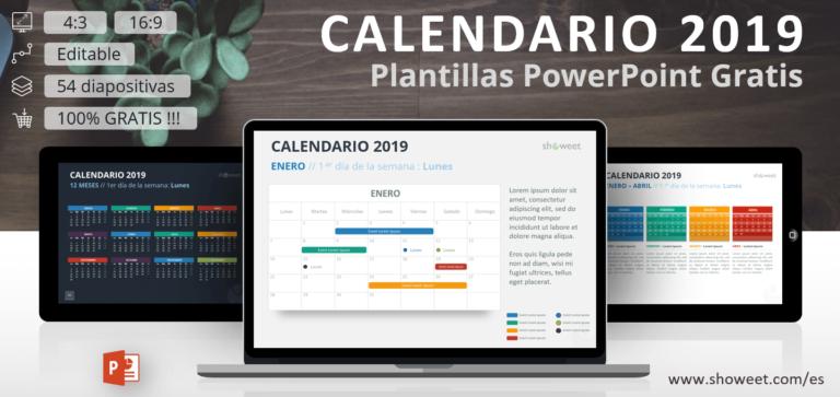 Plantillas gratuitas de calendarios para el año 2019 para PowerPoint