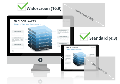 3D Block Layers for PowerPoint - Optimized for Widescreen and Standard Layouts