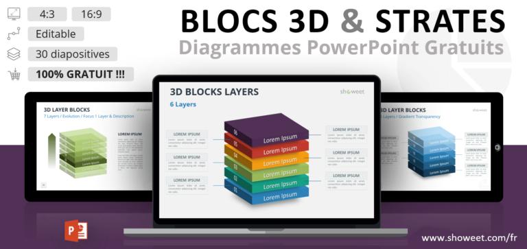 Modèles de Blocs 3D avec Strates pour PowerPoint