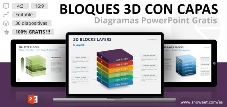 Bloques 3D con Capas para PowerPoint