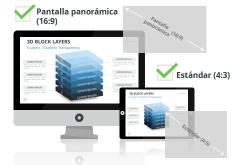 Bloques 3D con Capas para PowerPoint - Pantalla estándar (4:3) y pantalla panorámica (16:9)