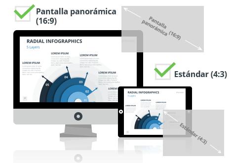 Infográficos Radiales para PowerPoint - Pantalla estándar (4:3) y pantalla panorámica (16:9)