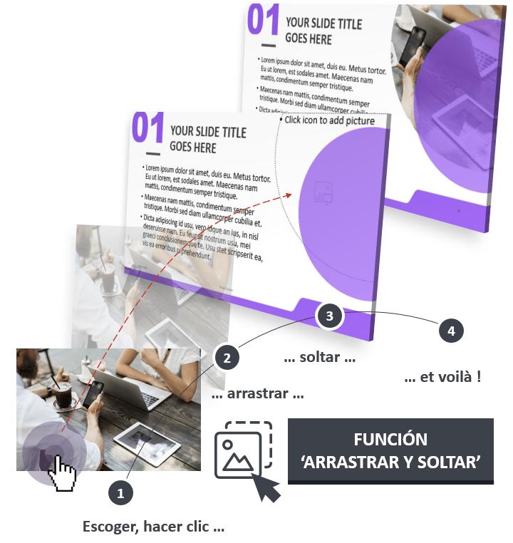 La plantilla PowerPoint Corpo está diseñada con la función Arrastrar y Soltar