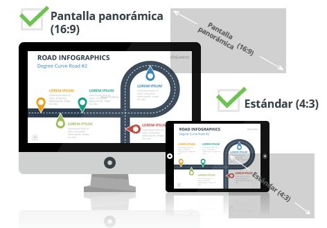 Plantillas Infográficas de Carreteras para PowerPoint - Pantalla estándar (4:3) y pantalla panorámica (16:9)