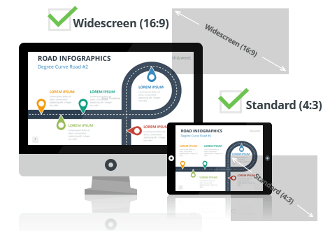Road Infographics for PowerPoint - Optimized for Widescreen and Standard Layouts