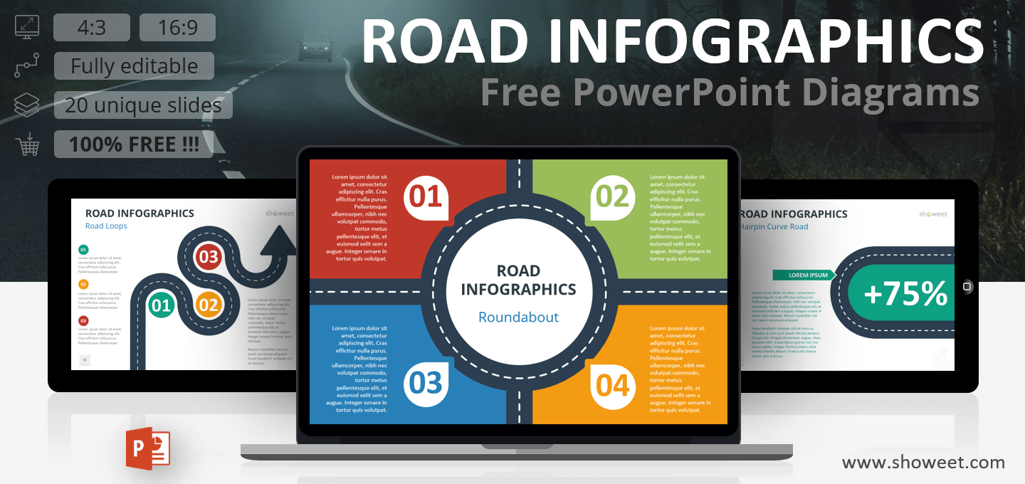 Free Road Infographics for PowerPoint