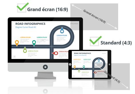 Modèles Infographiques de Routes pour PowerPoint aux formats Grand écran et Standard