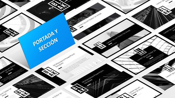 BLAK Plantilla para PowerPoint - Diapositivas de portada y de sección