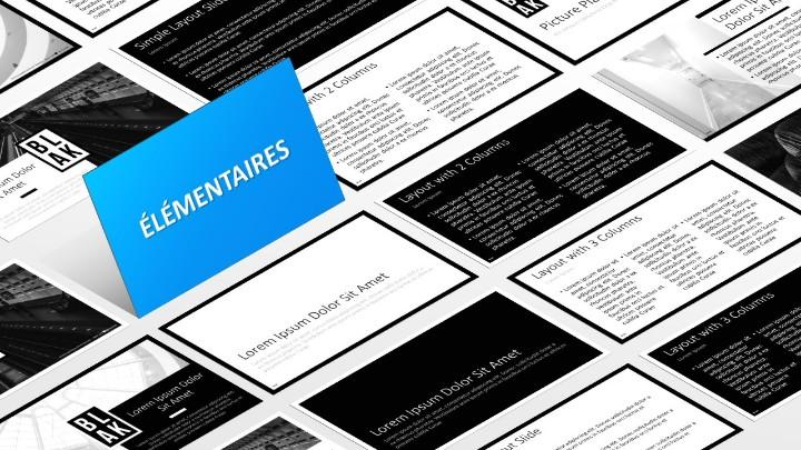 BLAK – Modèle PowerPoint - Diapositives élémentaires