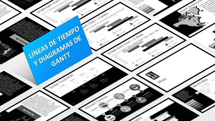 BLAK Plantilla para PowerPoint - Líneas de tiempo y Diagramas de Gantt