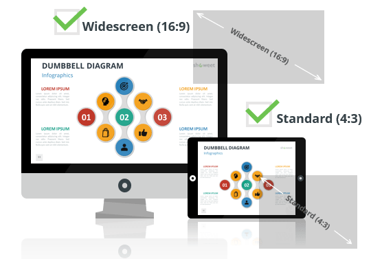 Dumbbell Diagrams for PowerPoint and Google Slides - Optimized for Widescreen and Standard Layouts