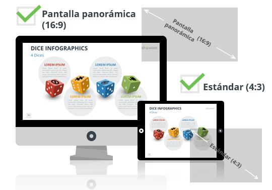 Dados - Plantillas de infografía para PowerPoint - Pantalla estándar (4:3) y pantalla panorámica (16:9)