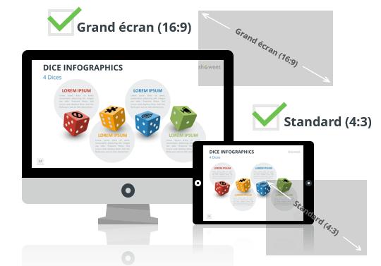 Dés – Modèles Infographiques pour PowerPoint aux formats Grand écran et Standard