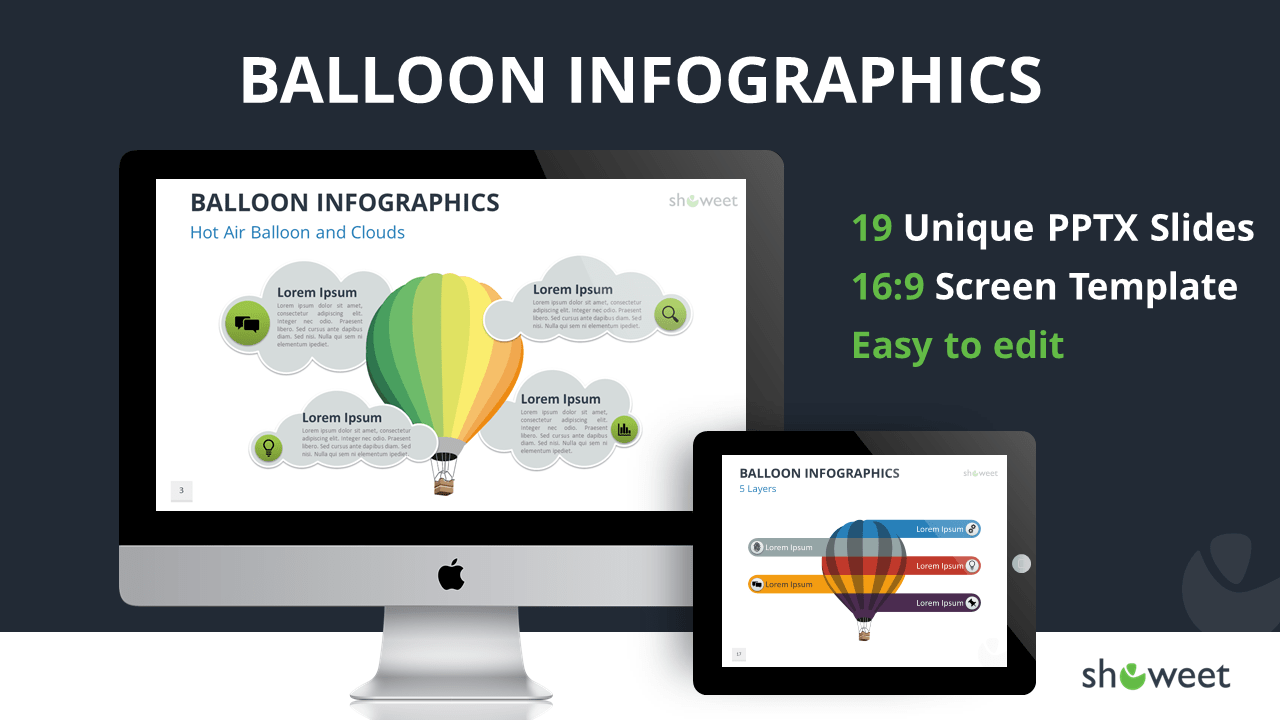 Balloon Infographics for PowerPoint and Google Slides