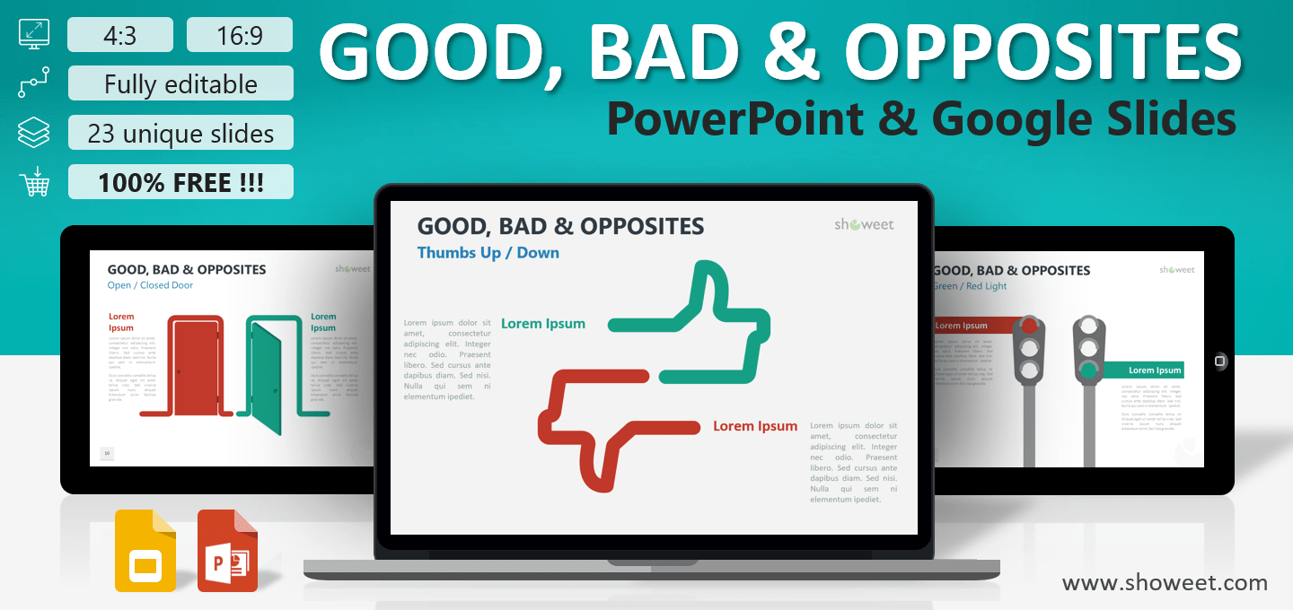 good  bad and opposites for powerpoint and google slides