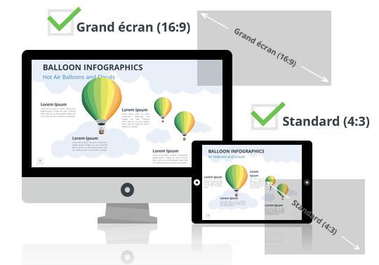 Montgolfières – Modèles Infographiques pour PowerPoint aux formats Grand écran et Standard