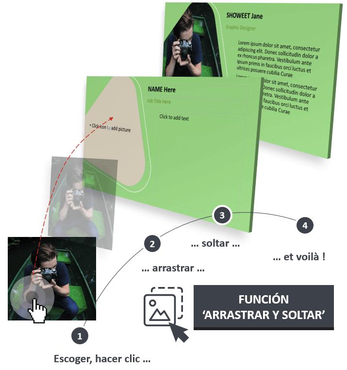 El modelo PowerPoint LUNA está diseñada con la función Arrastrar y Soltar