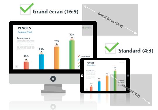 Crayons – Modèles Infographiques pour PowerPoint aux formats Grand écran et Standard