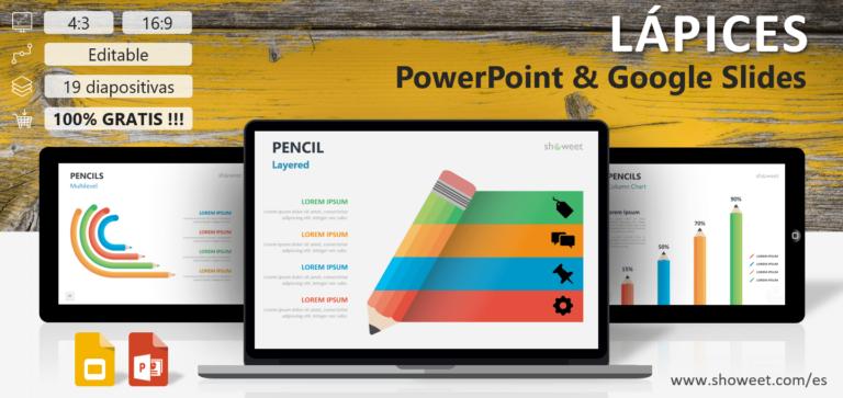 Lápices - Plantillas de Infografía para PowerPoint y Google Slides
