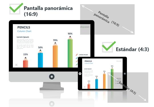 Lápices - Plantillas de infografía para PowerPoint - Pantalla estándar (4:3) y pantalla panorámica (16:9)