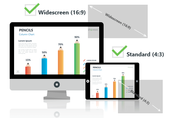 Pencils Infographics for PowerPoint - Optimized for Widescreen and Standard Layouts