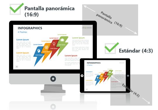 Modelos de infografía para PowerPoint - Pantalla estándar (4:3) y pantalla panorámica (16:9)