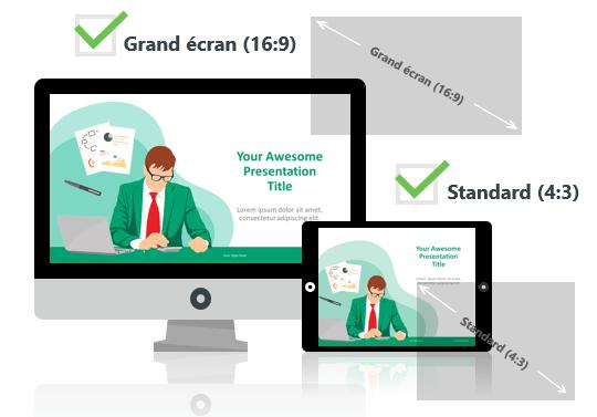 Dessins Business - Modèles PowerPoint aux formats Grand écran et Standard