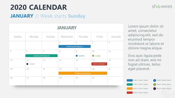 2020 Calendar PowerPoint for 1 month