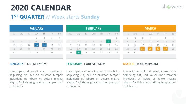 2020 Calendar PowerPoint with 3 months (Quarter)