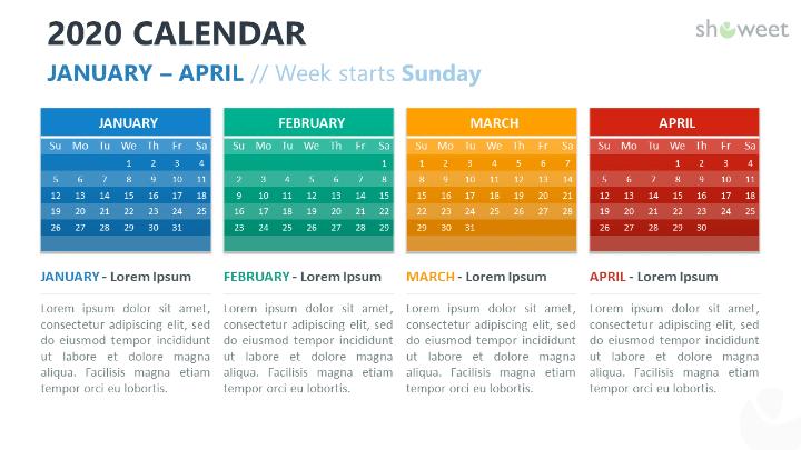 2020 Calendar PowerPoint with 4 months (Quadrimester)