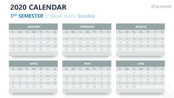 2020 Calendar PowerPoint 6 months (Semester)