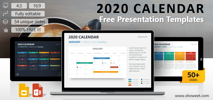 2020 Calendar for PowerPoint and Google Slides