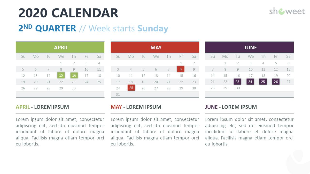 2020 Calendar For Powerpoint And Google Slides Showeet Com