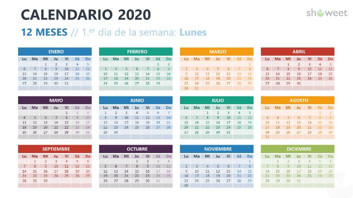 Calendario 2020 para PowerPoint con 12 Meses