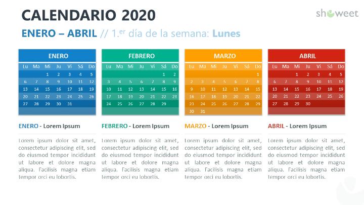 Calendario 2020 para PowerPoint con 4 Meses (Cuatrimestres)