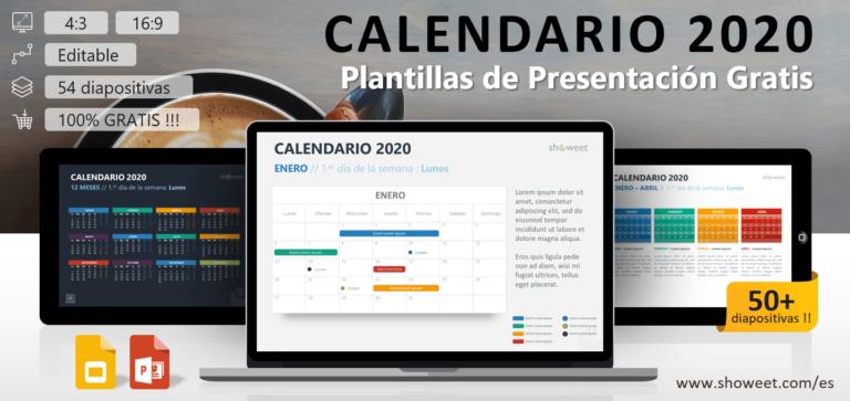 Calendario 2020 para PowerPoint y Google Slides
